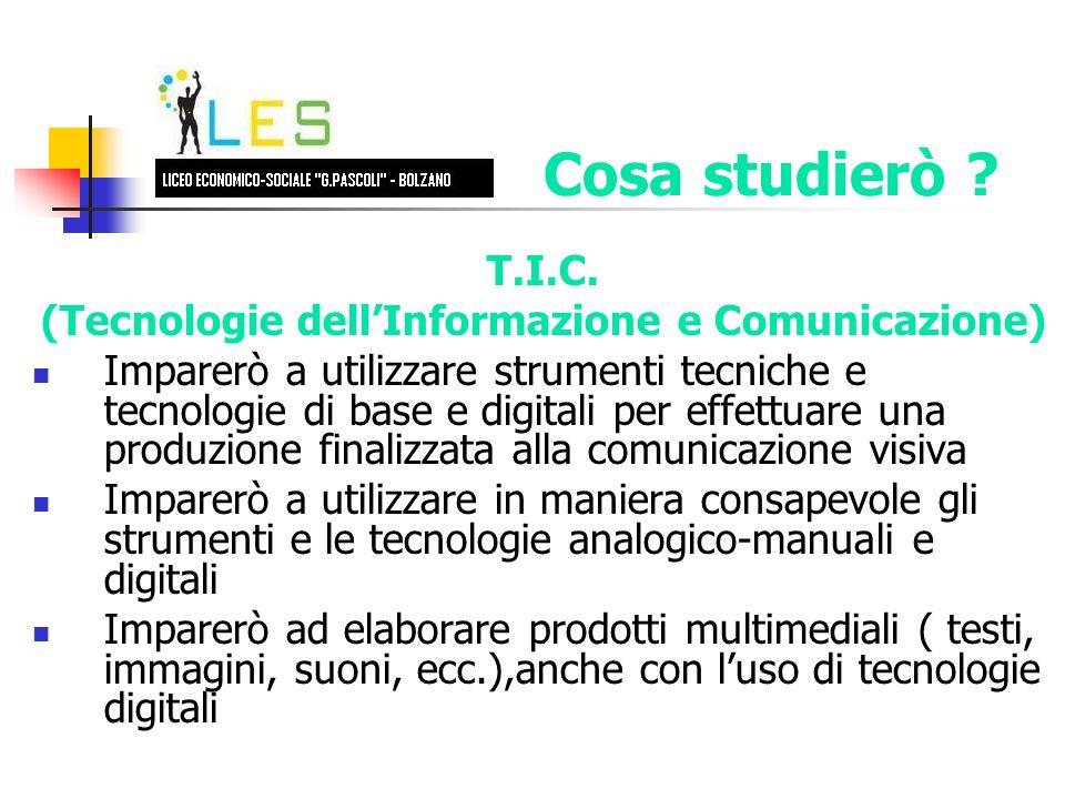 T.I.C. (Tecnologie dellInformazione e Comunicazione) Imparerò a utilizzare strumenti tecniche e tecnologie di base e digitali per effettuare una produ
