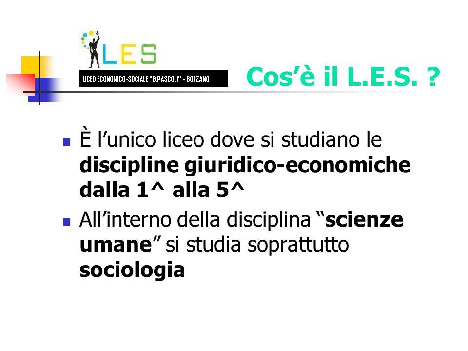 È lunico liceo dove si studiano le discipline giuridico-economiche dalla 1^ alla 5^ Allinterno della disciplina scienze umane si studia soprattutto sociologia Cosè il L.E.S.