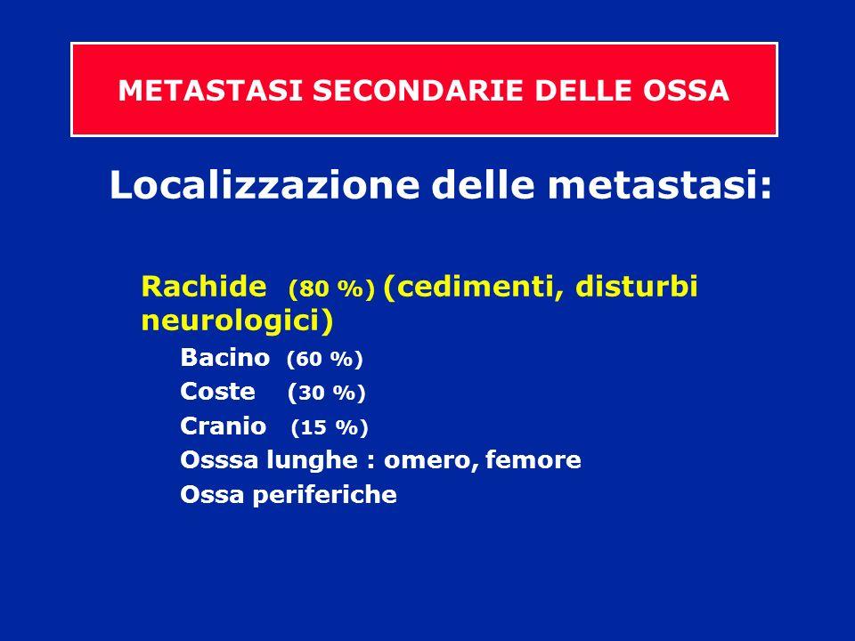 Localizzazione delle metastasi: Rachide (80 %) (cedimenti, disturbi neurologici) Bacino (60 %) Coste ( 30 %) Cranio (15 %) Osssa lunghe : omero, femor