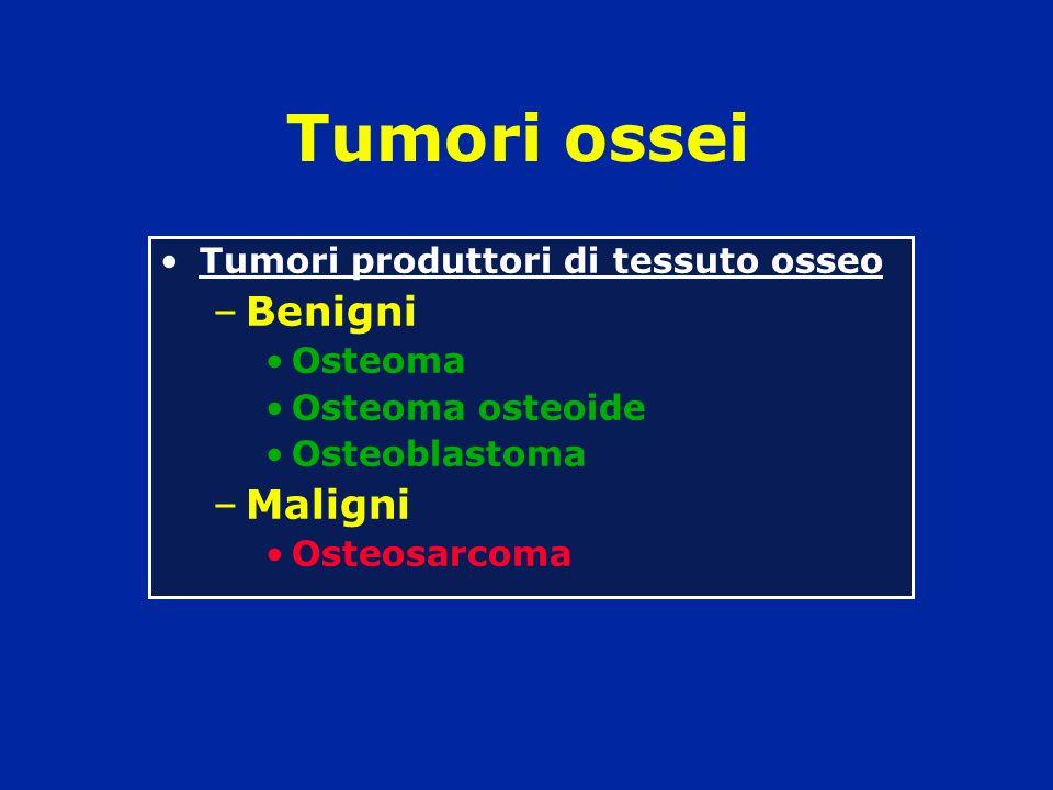 Tumori produttori di tessuto osseo –Benigni Osteoma Osteoma osteoide Osteoblastoma –Maligni Osteosarcoma Tumori ossei