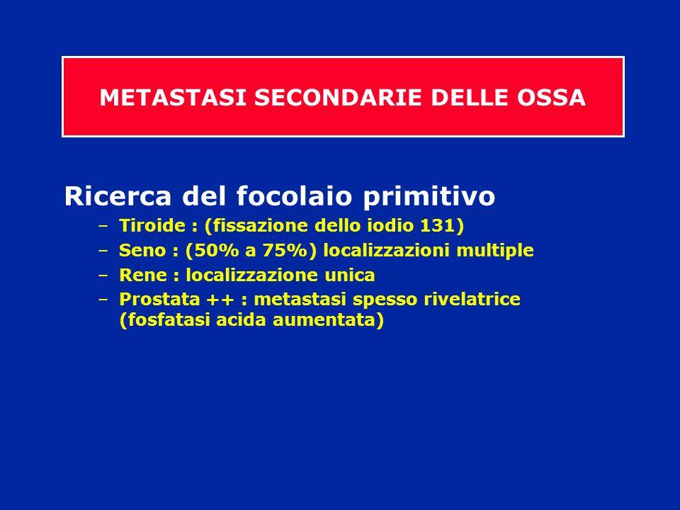 Ricerca del focolaio primitivo –Tiroide : (fissazione dello iodio 131) –Seno : (50% a 75%) localizzazioni multiple –Rene : localizzazione unica –Prost