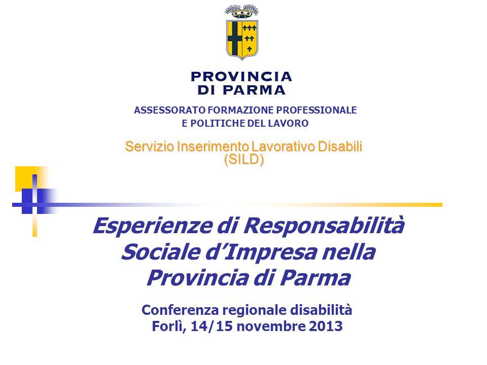 ASSESSORATO FORMAZIONE PROFESSIONALE E POLITICHE DEL LAVORO Servizio Inserimento Lavorativo Disabili (SILD) Esperienze di Responsabilità Sociale dImpr