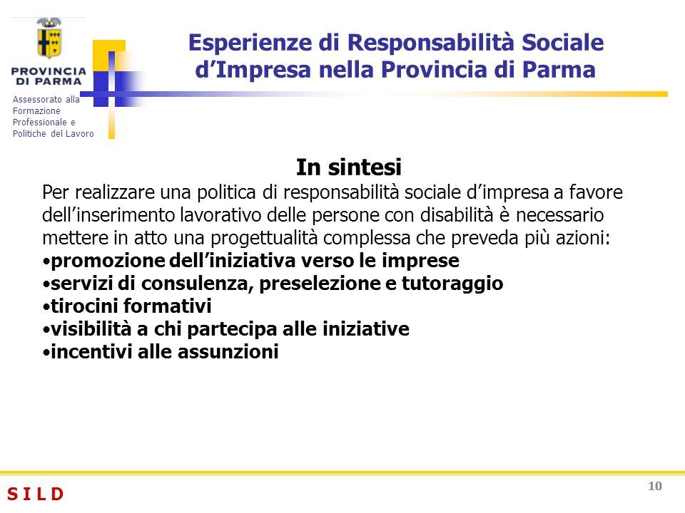 S I L DS I L D Assessorato alla Formazione Professionale e Politiche del Lavoro 10 Esperienze di Responsabilità Sociale dImpresa nella Provincia di Pa