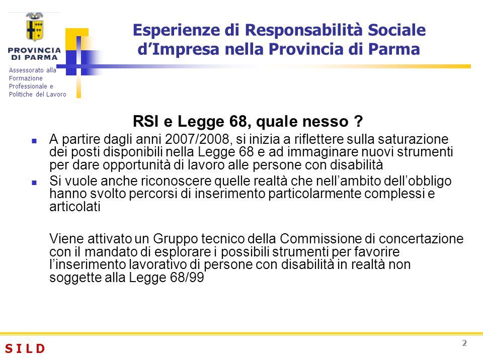 S I L DS I L D Assessorato alla Formazione Professionale e Politiche del Lavoro 33 La Delibera di Giunta Provinciale n.