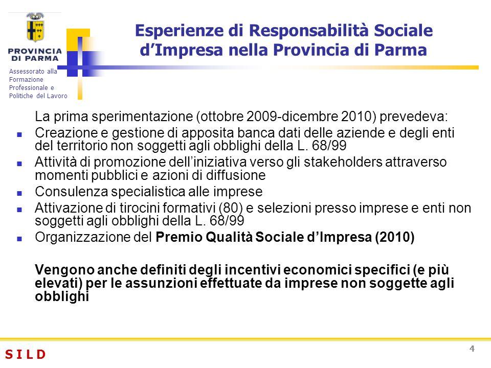S I L DS I L D Assessorato alla Formazione Professionale e Politiche del Lavoro 55 Esperienze di Responsabilità Sociale dImpresa nella Provincia di Parma La sperimentazione da esito positivo sia in termini di tirocini attivati (80) che di partecipazione alla prima edizione del premio qualità sociale dimpresa (39 imprese)
