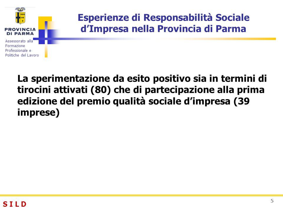 S I L DS I L D Assessorato alla Formazione Professionale e Politiche del Lavoro 55 Esperienze di Responsabilità Sociale dImpresa nella Provincia di Pa
