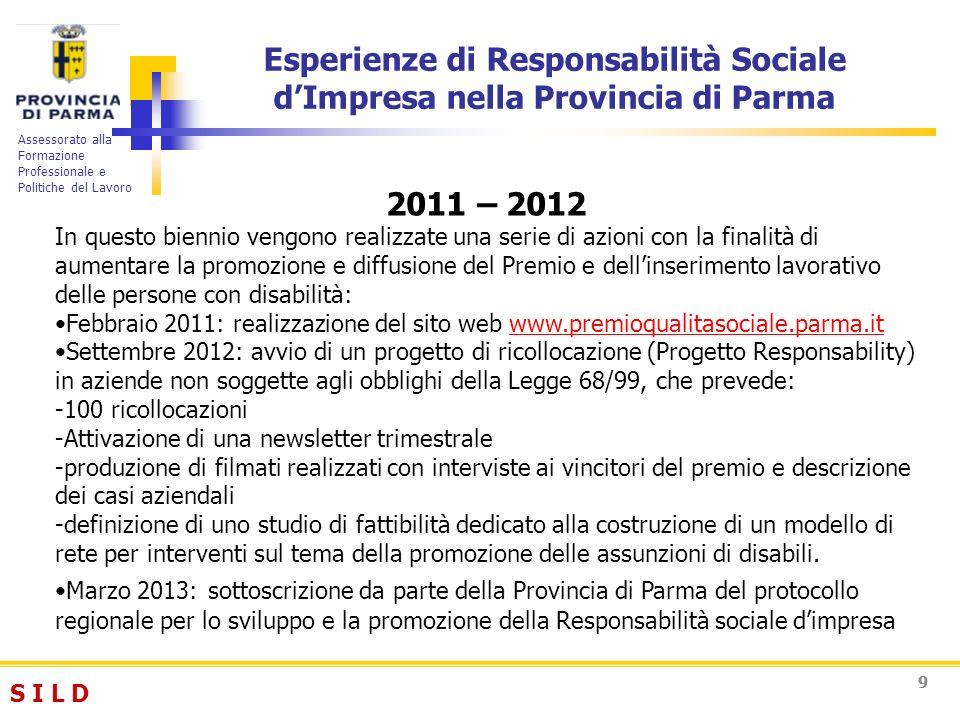 S I L DS I L D Assessorato alla Formazione Professionale e Politiche del Lavoro 99 Esperienze di Responsabilità Sociale dImpresa nella Provincia di Pa