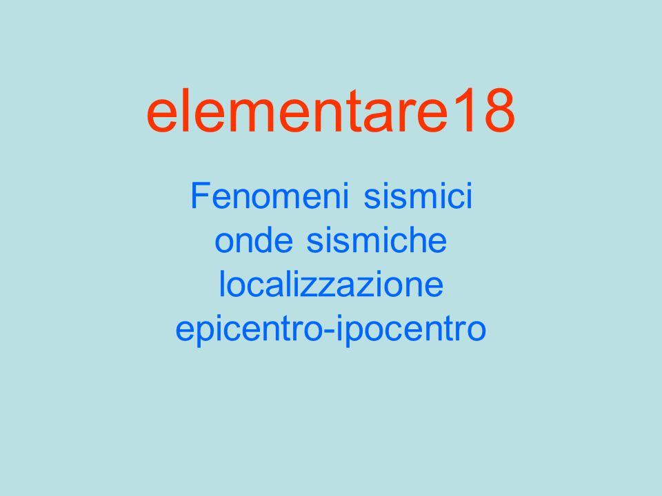 elementare18 Fenomeni sismici onde sismiche localizzazione epicentro-ipocentro
