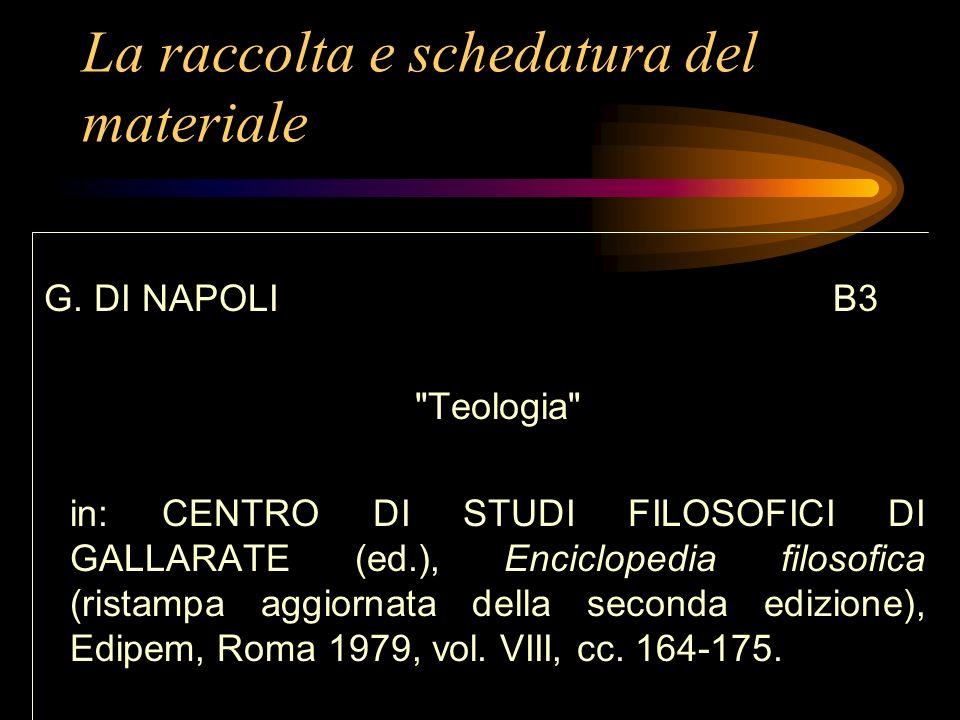 La raccolta e schedatura del materiale C. VAGAGGINI B2 Teologia in: G. BARBAGLIO - S. DIANICH (edd.), Nuovo Dizionario di Teologia, Paoline, Roma 1982