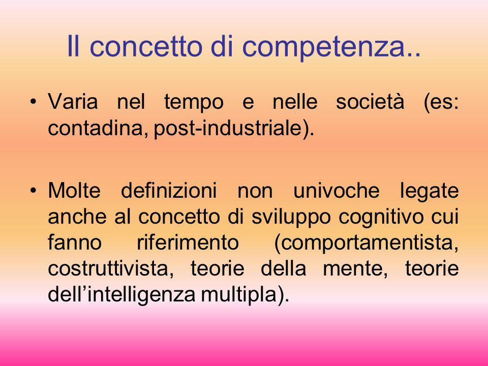 Il concetto di competenza.. Varia nel tempo e nelle società (es: contadina, post-industriale). Molte definizioni non univoche legate anche al concetto