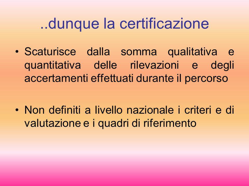 ..dunque la certificazione Scaturisce dalla somma qualitativa e quantitativa delle rilevazioni e degli accertamenti effettuati durante il percorso Non definiti a livello nazionale i criteri e di valutazione e i quadri di riferimento
