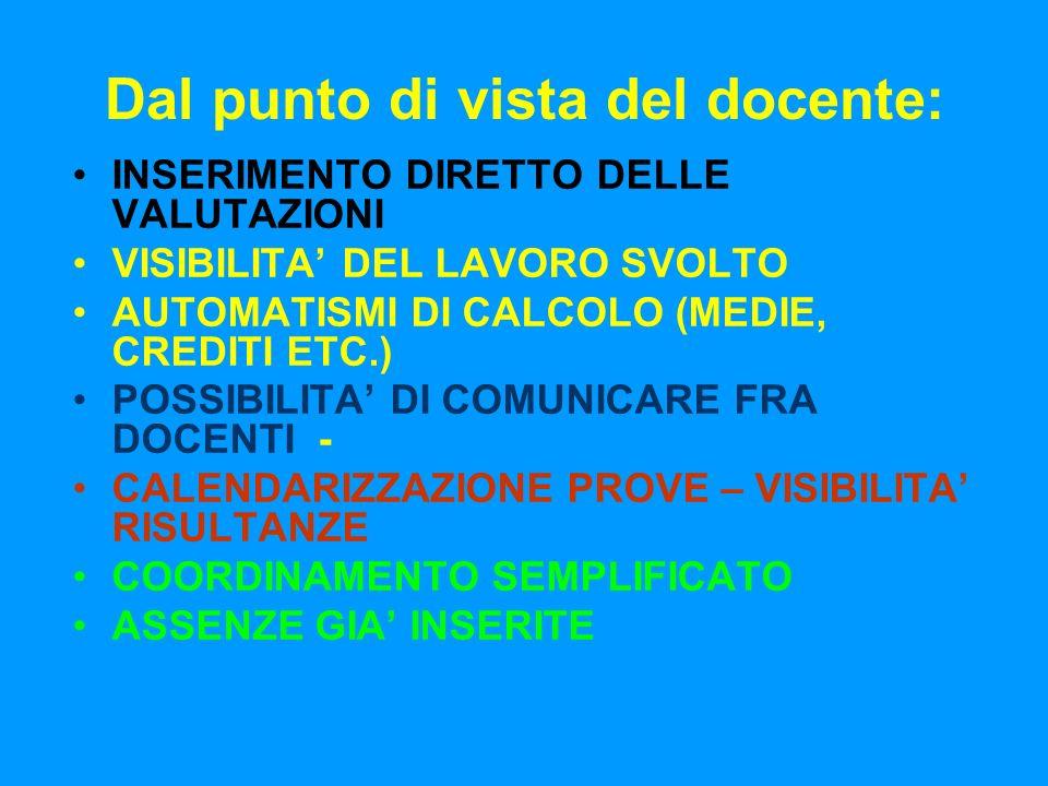 Dal punto di vista del docente: INSERIMENTO DIRETTO DELLE VALUTAZIONI VISIBILITA DEL LAVORO SVOLTO AUTOMATISMI DI CALCOLO (MEDIE, CREDITI ETC.) POSSIBILITA DI COMUNICARE FRA DOCENTI - CALENDARIZZAZIONE PROVE – VISIBILITA RISULTANZE COORDINAMENTO SEMPLIFICATO ASSENZE GIA INSERITE
