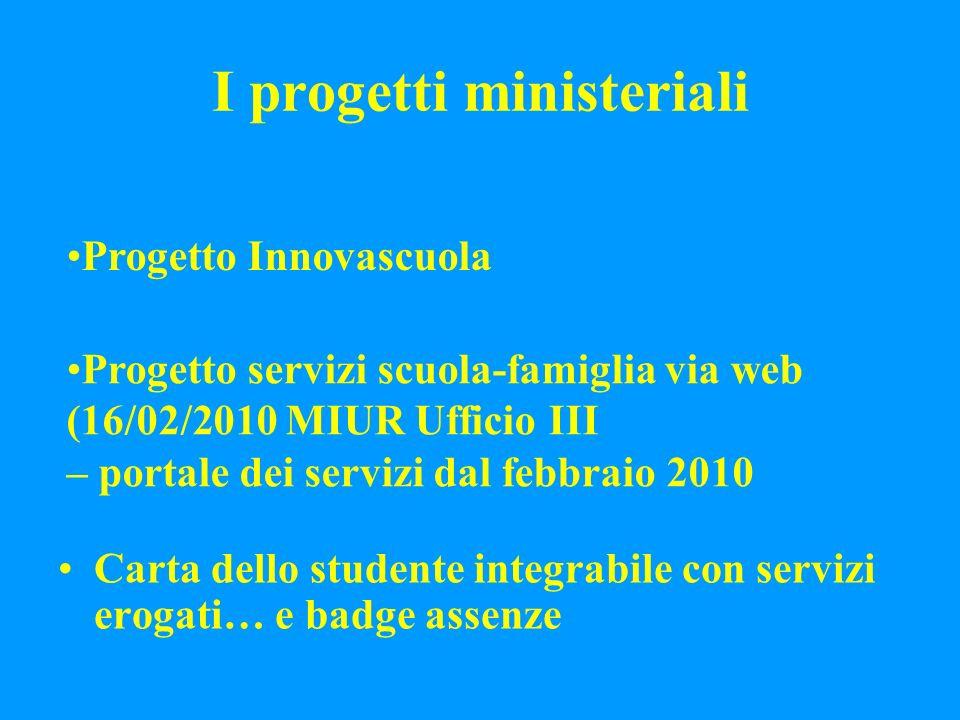 I progetti ministeriali Carta dello studente integrabile con servizi erogati… e badge assenze Progetto Innovascuola Progetto servizi scuola-famiglia via web (16/02/2010 MIUR Ufficio III – portale dei servizi dal febbraio 2010