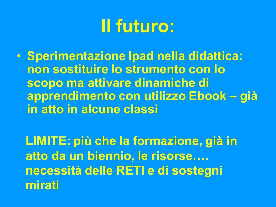 Il futuro: Sperimentazione Ipad nella didattica: non sostituire lo strumento con lo scopo ma attivare dinamiche di apprendimento con utilizzo Ebook – già in atto in alcune classi LIMITE: più che la formazione, già in atto da un biennio, le risorse….