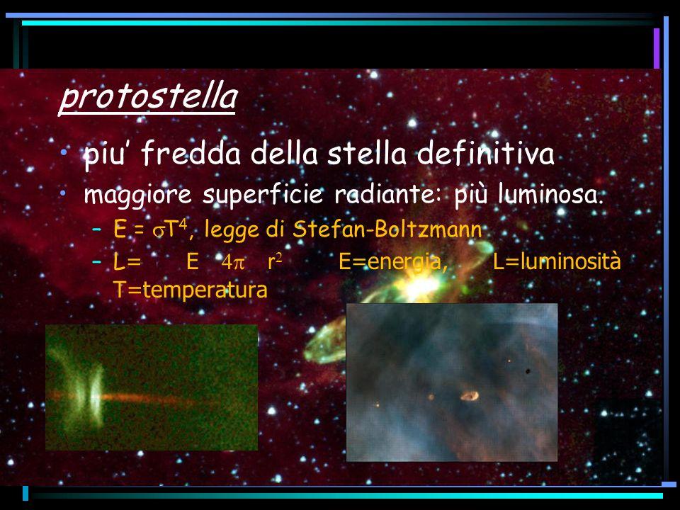 protostella piu fredda della stella definitiva maggiore superficie radiante: più luminosa. –E = T 4, legge di Stefan-Boltzmann –L = E r E=energia, L=l