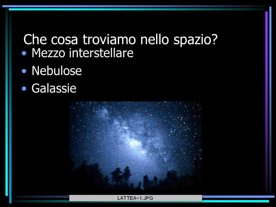 Che cosa troviamo nello spazio? Mezzo interstellare Nebulose Galassie