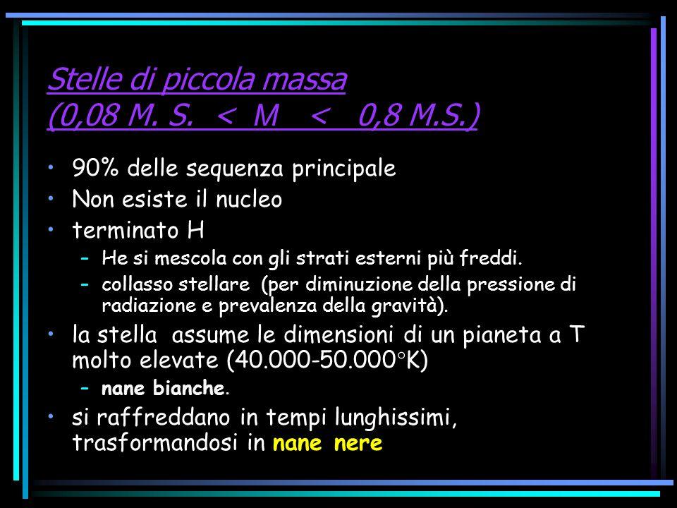 Stelle di piccola massa (0,08 M. S. < M < 0,8 M.S.) 90% delle sequenza principale Non esiste il nucleo terminato H –He si mescola con gli strati ester