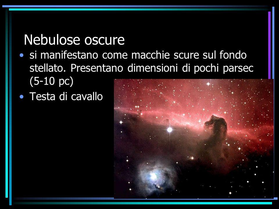Nebulose oscure si manifestano come macchie scure sul fondo stellato. Presentano dimensioni di pochi parsec (5-10 pc) Testa di cavallo