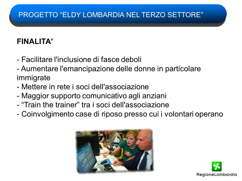 Eldy_Lombardia è il programma gratuito che consente agli anziani della Regione un accesso facilitato -al computer -alla rete internet -alla comunità on line -ai servizi digitali della Pubblica Amministrazione LO STRUMENTO: IL PROGRAMMA ELDY_LOMBARDIA