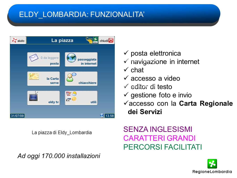 Eldy_Lombardia è gia inserito nell iniziativa regionale di diffusione del lettore della Carta Regionale dei Servizi Eldy è presente in tutti i cd di installazione della CRS distribuiti ed in distribuzione ELDY_LOMBARDIA: FUNZIONALITA