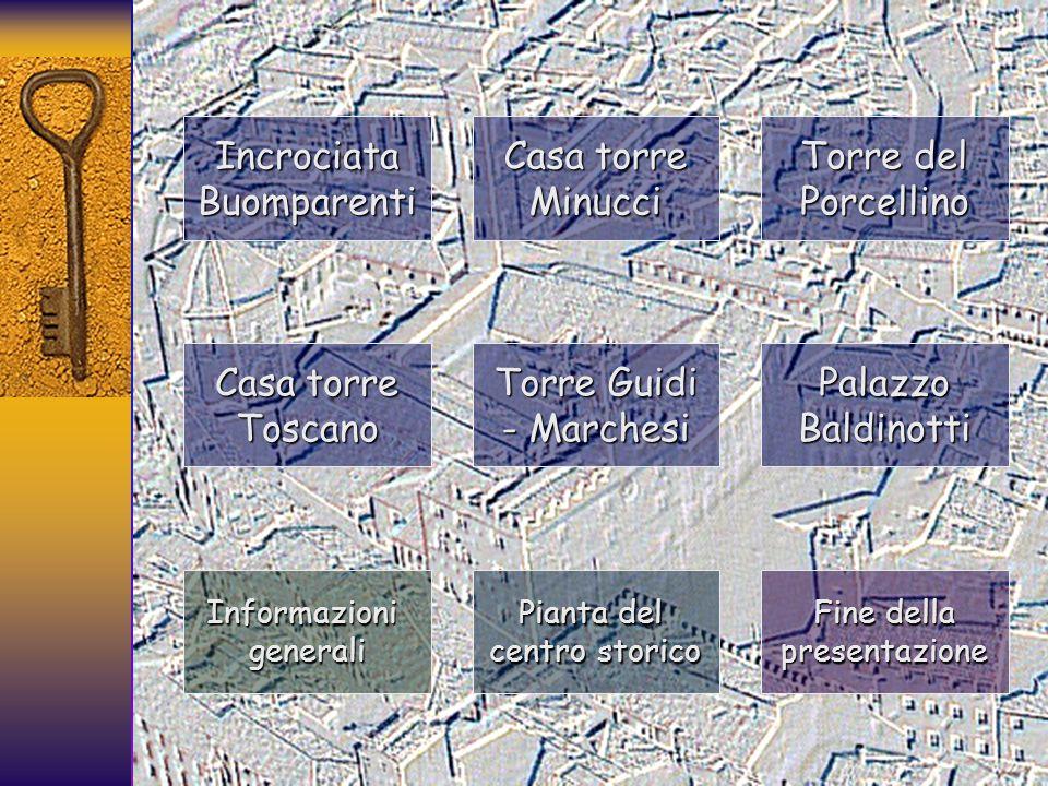 La disposizione delle finestre poi, come informa leruditissimo Enrico Fiumi (1951), dipendeva non solamente dallubicazione delle stanze interne, ma dallorientamento delle torri vicine, il collegamento con le quali era ottenuto mediante passerelle in legno da finestra a finestra.
