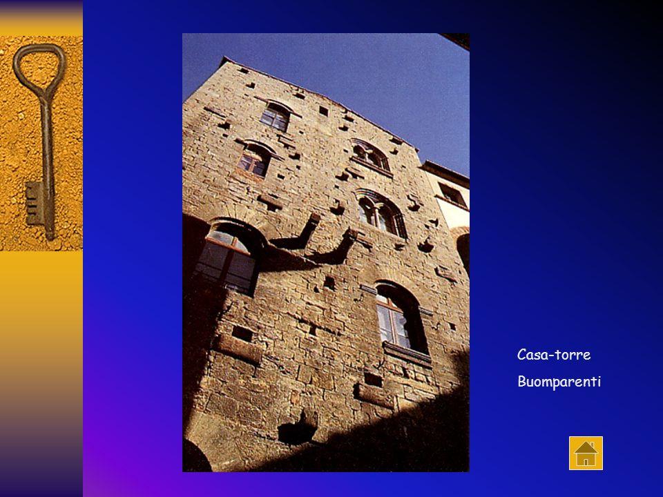 Una suggestiva sequenza di case-torri. Da sinistra: Torre Bonamici; Torre Buomparenti; Torri Buonaguidi. In fondo a destra, la Torre Belforti, nel Pal