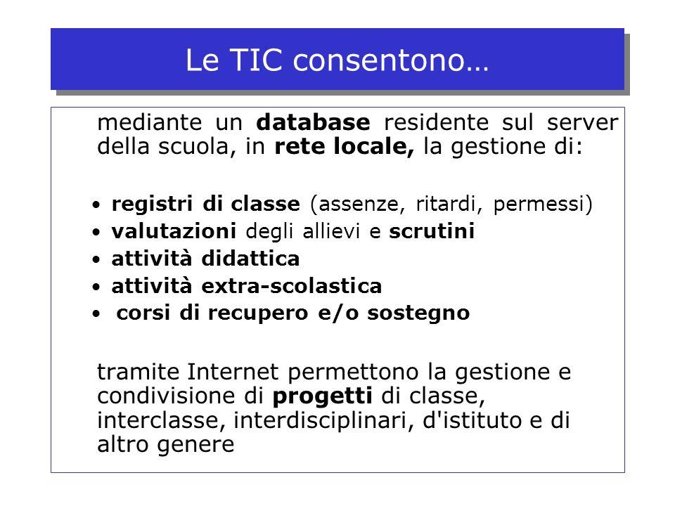Le TIC consentono… mediante un database residente sul server della scuola, in rete locale, la gestione di: registri di classe (assenze, ritardi, perme