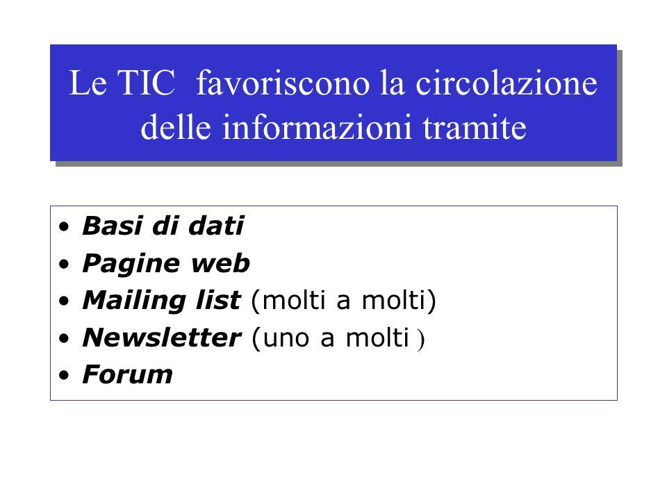 Le TIC favoriscono la circolazione delle informazioni tramite Basi di dati Pagine web Mailing list (molti a molti) Newsletter (uno a molti ) Forum