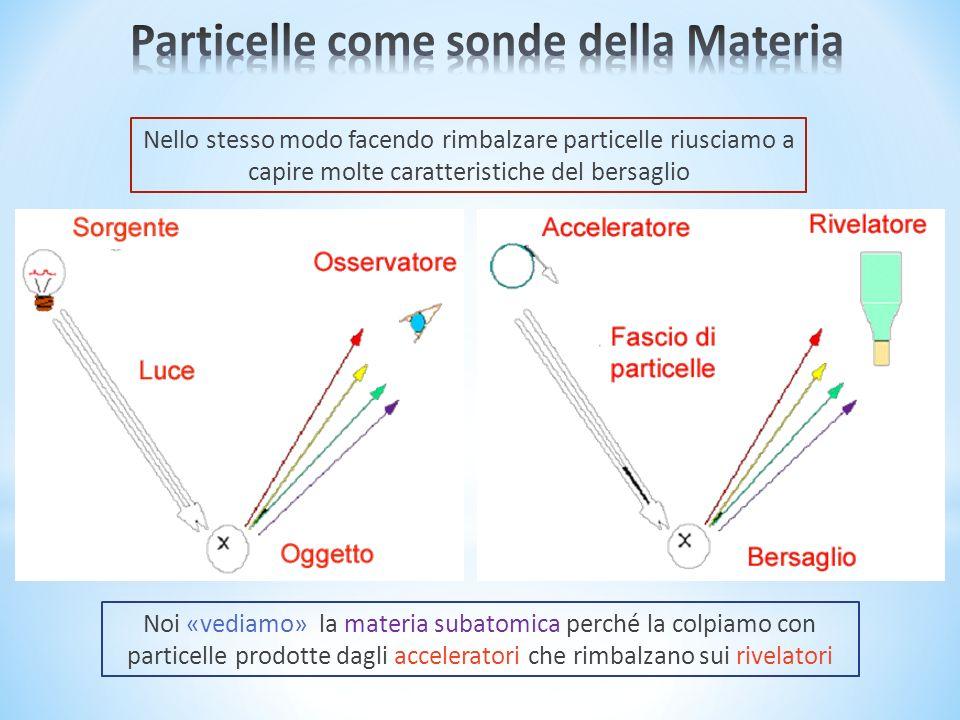 Nello stesso modo facendo rimbalzare particelle riusciamo a capire molte caratteristiche del bersaglio Noi «vediamo» la materia subatomica perché la colpiamo con particelle prodotte dagli acceleratori che rimbalzano sui rivelatori