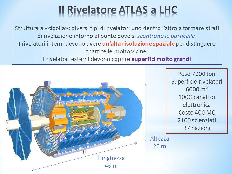 Struttura a «cipolla»: diversi tipi di rivelatori uno dentro laltro a formare strati di rivelazione intorno al punto dove si scontrano le particelle.