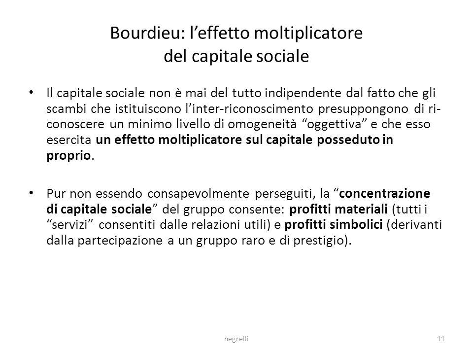 negrelli11 Bourdieu: leffetto moltiplicatore del capitale sociale Il capitale sociale non è mai del tutto indipendente dal fatto che gli scambi che istituiscono linter-riconoscimento presuppongono di ri- conoscere un minimo livello di omogeneità oggettiva e che esso esercita un effetto moltiplicatore sul capitale posseduto in proprio.