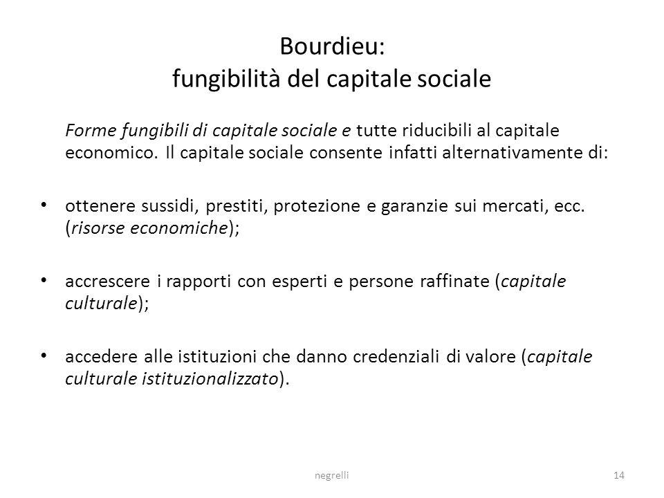 negrelli14 Bourdieu: fungibilità del capitale sociale Forme fungibili di capitale sociale e tutte riducibili al capitale economico.