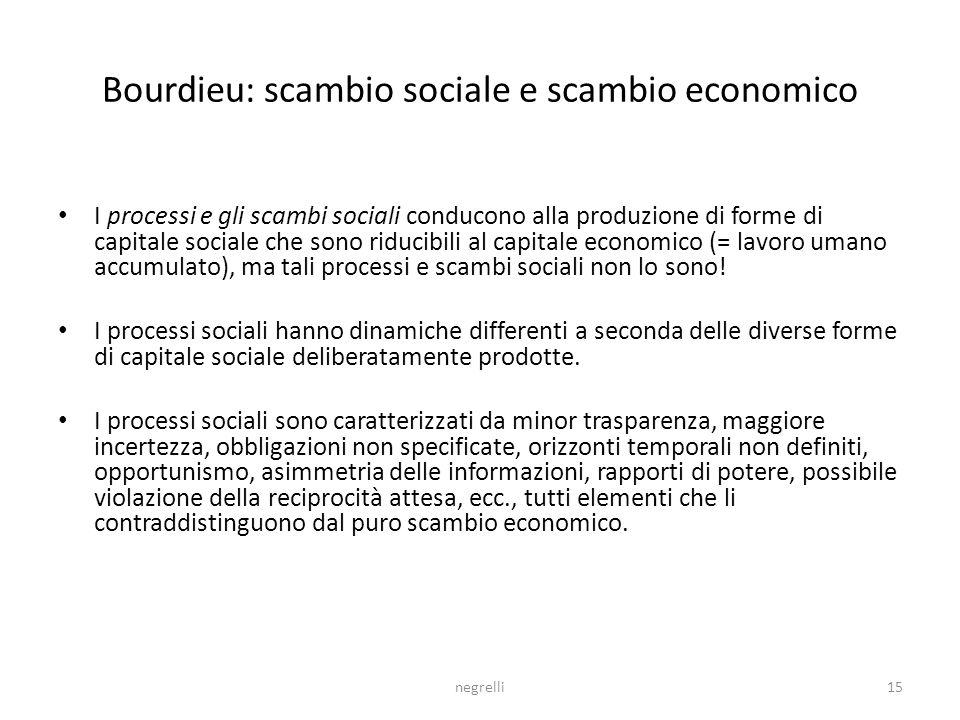 negrelli15 Bourdieu: scambio sociale e scambio economico I processi e gli scambi sociali conducono alla produzione di forme di capitale sociale che sono riducibili al capitale economico (= lavoro umano accumulato), ma tali processi e scambi sociali non lo sono.
