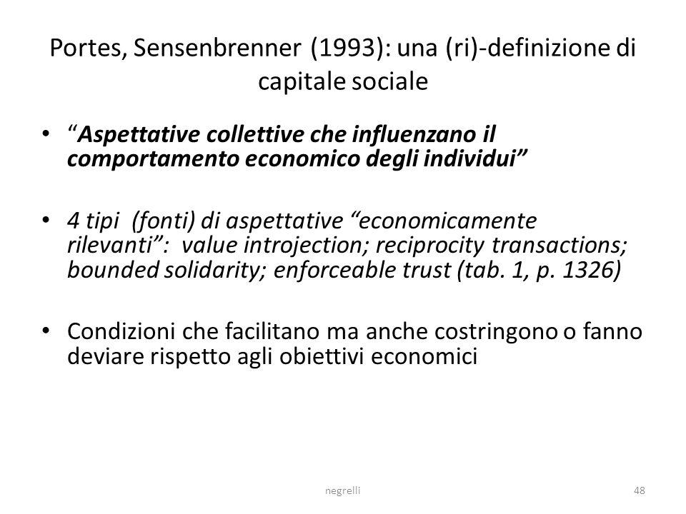 negrelli48 Portes, Sensenbrenner (1993): una (ri)-definizione di capitale sociale Aspettative collettive che influenzano il comportamento economico degli individui 4 tipi (fonti) di aspettative economicamente rilevanti: value introjection; reciprocity transactions; bounded solidarity; enforceable trust (tab.