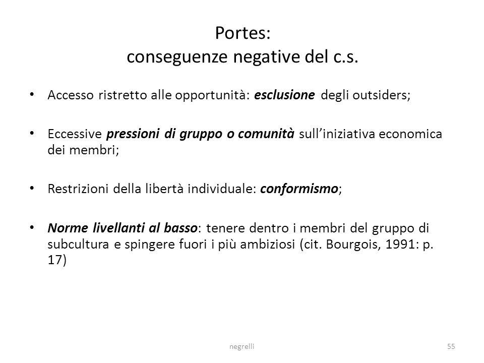 negrelli55 Portes: conseguenze negative del c.s.