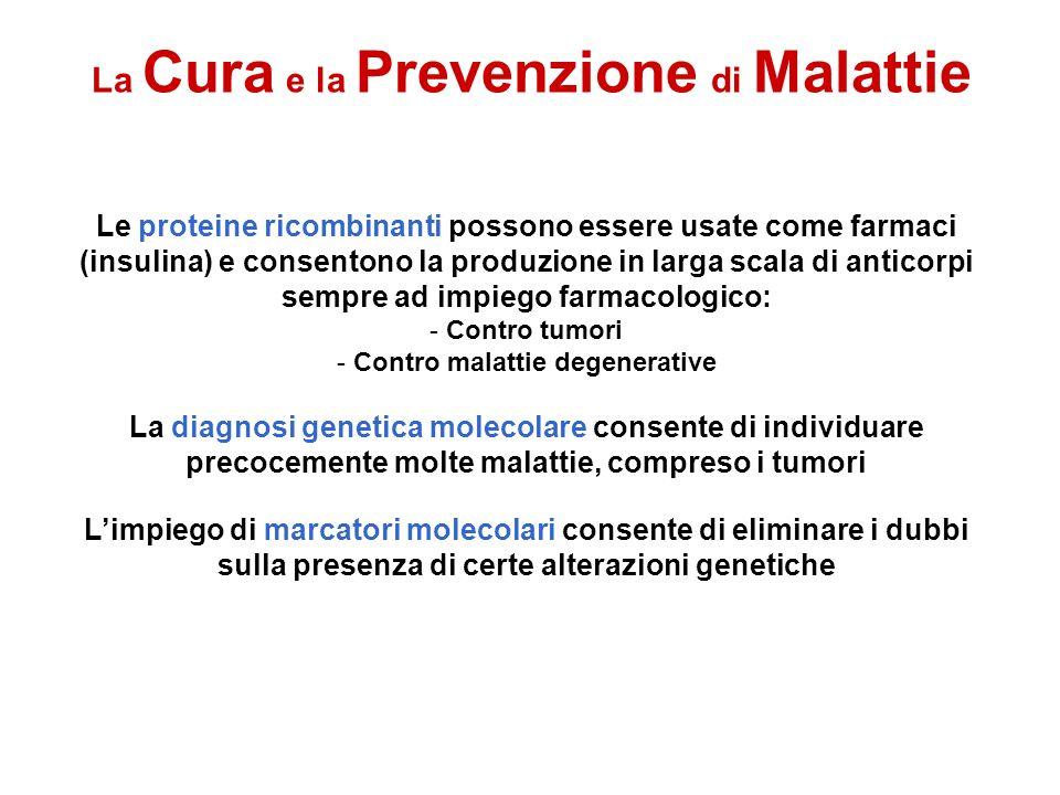La Cura e la Prevenzione di Malattie Le proteine ricombinanti possono essere usate come farmaci (insulina) e consentono la produzione in larga scala d