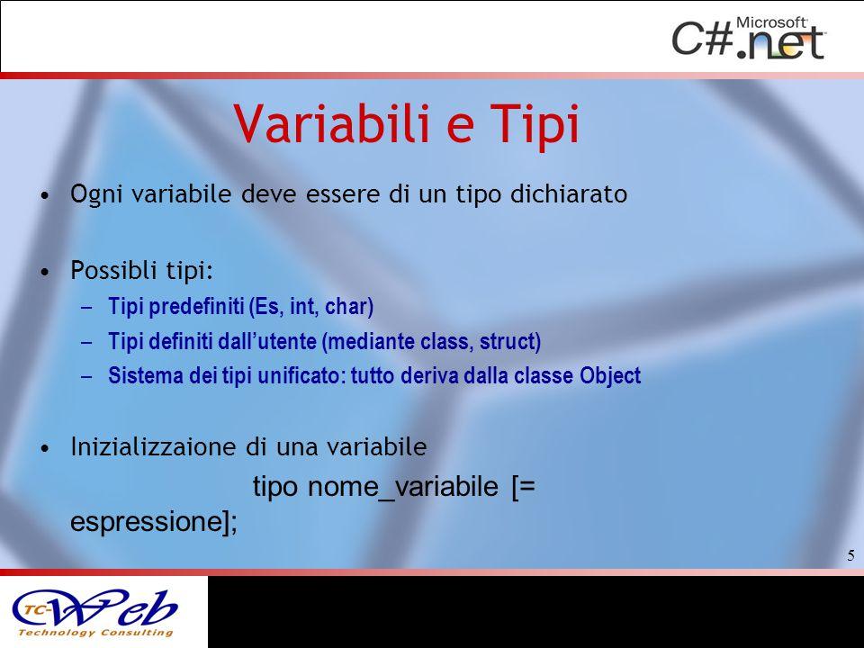 6 L a variabili devono essere inizializzate o deve essergli assegnato un valore prima del loro primo utilizzo int s = 0; //inizializzazione, dichiarazione + assegnazione string nome; // dichiarazione senza assegnazione float miofloat = 0.5f; //inizializzazione, dichiarazione + assegnazione bool hotOrNot = true; //inizializzazione, dichiarazione + assegnazio Il valore delle costanti non può essere modificato const int variabileCostante= 32;