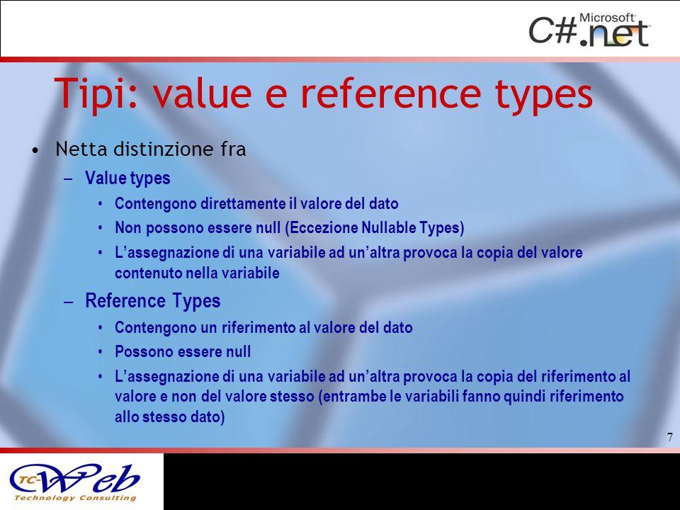 Tipi: value e reference types Netta distinzione fra – Value types Contengono direttamente il valore del dato Non possono essere null (Eccezione Nullab