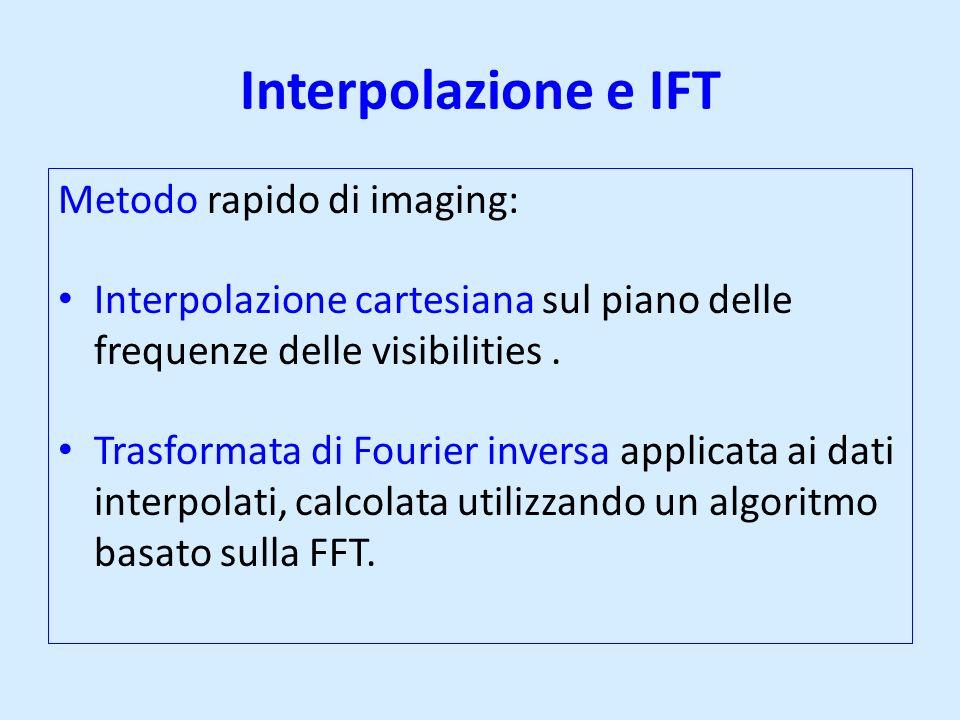 Interpolazione e IFT Metodo rapido di imaging: Interpolazione cartesiana sul piano delle frequenze delle visibilities. Trasformata di Fourier inversa