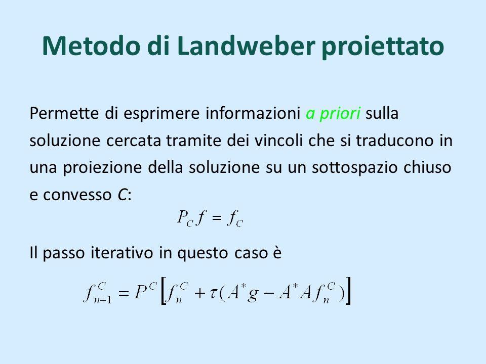 Metodo di Landweber proiettato Permette di esprimere informazioni a priori sulla soluzione cercata tramite dei vincoli che si traducono in una proiezione della soluzione su un sottospazio chiuso e convesso C: Il passo iterativo in questo caso è