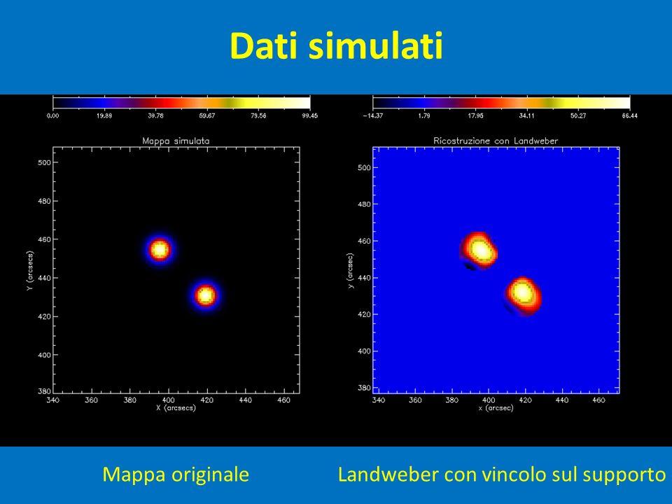 Dati simulati Mappa originaleLandweber con vincolo sul supporto