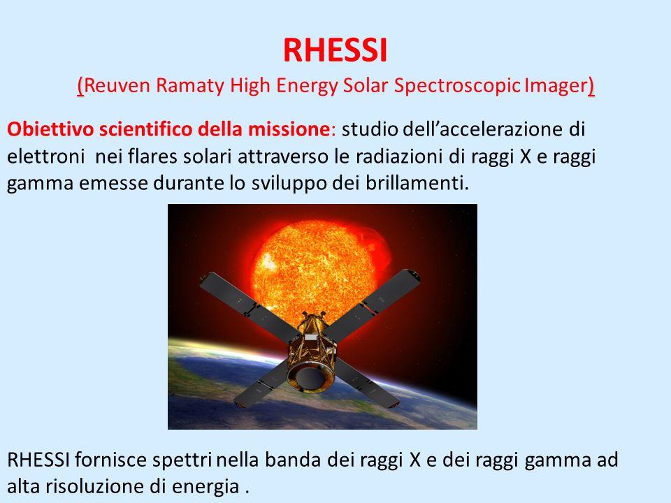 () RHESSI (Reuven Ramaty High Energy Solar Spectroscopic Imager) Obiettivo scientifico della missione: studio dellaccelerazione di elettroni nei flares solari attraverso le radiazioni di raggi X e raggi gamma emesse durante lo sviluppo dei brillamenti.
