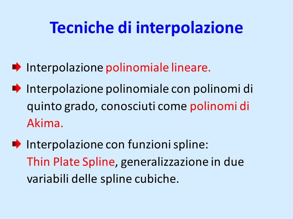 Tecniche di interpolazione Interpolazione polinomiale lineare. Interpolazione polinomiale con polinomi di quinto grado, conosciuti come polinomi di Ak