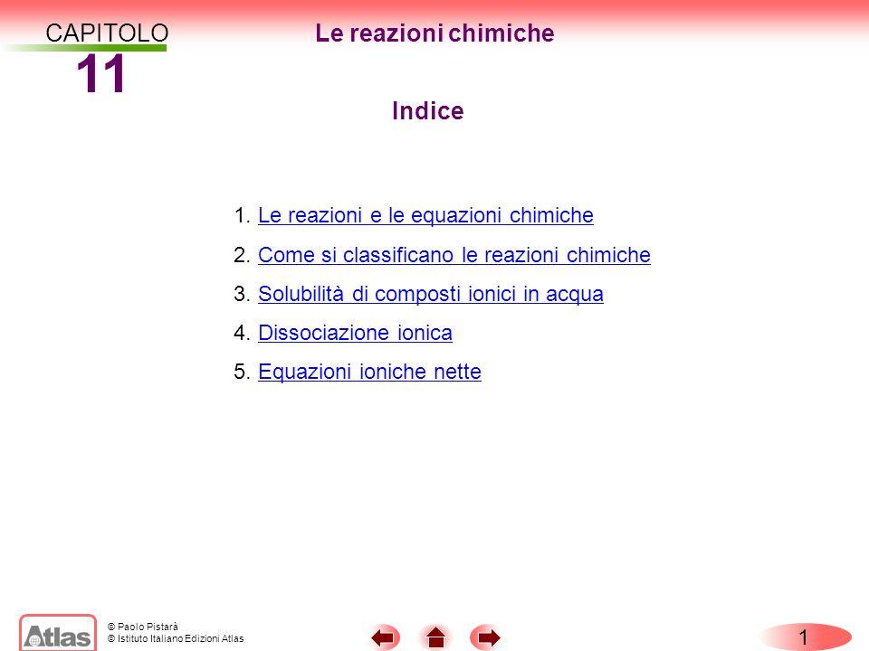 © Paolo Pistarà © Istituto Italiano Edizioni Atlas CAPITOLO 11 1 Indice 1. Le reazioni e le equazioni chimicheLe reazioni e le equazioni chimiche 2. C
