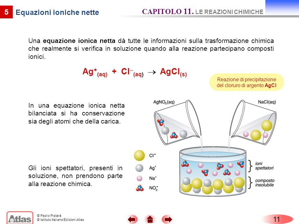 © Paolo Pistarà © Istituto Italiano Edizioni Atlas Una equazione ionica netta dà tutte le informazioni sulla trasformazione chimica che realmente si v