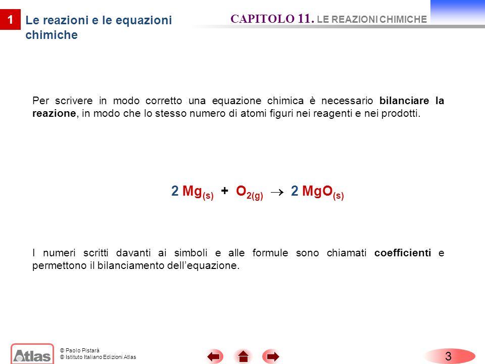 © Paolo Pistarà © Istituto Italiano Edizioni Atlas Per scrivere in modo corretto una equazione chimica è necessario bilanciare la reazione, in modo ch