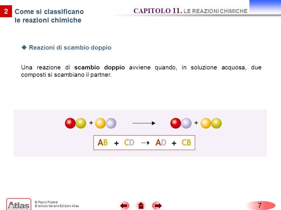 © Paolo Pistarà © Istituto Italiano Edizioni Atlas 7 CAPITOLO 11. LE REAZIONI CHIMICHE 2 Come si classificano le reazioni chimiche Reazioni di scambio
