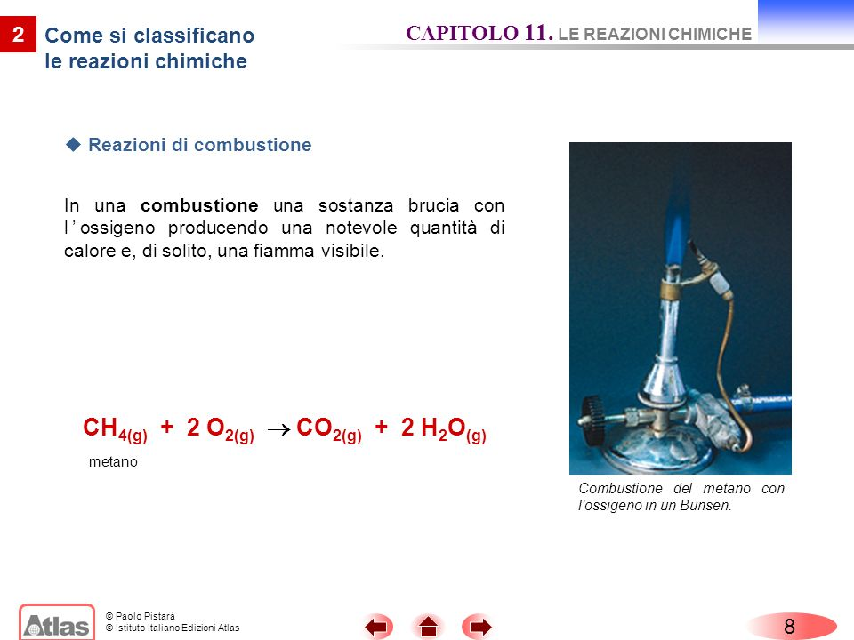 © Paolo Pistarà © Istituto Italiano Edizioni Atlas 8 CAPITOLO 11. LE REAZIONI CHIMICHE 2 Come si classificano le reazioni chimiche Reazioni di combust