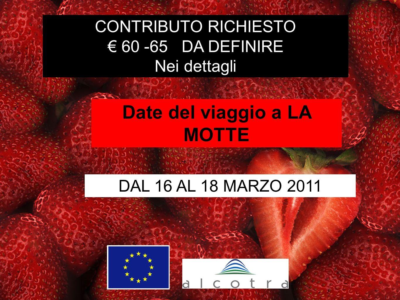 CONTRIBUTO RICHIESTO 60 -65 DA DEFINIRE Nei dettagli DAL 16 AL 18 MARZO 2011 Date del viaggio a LA MOTTE