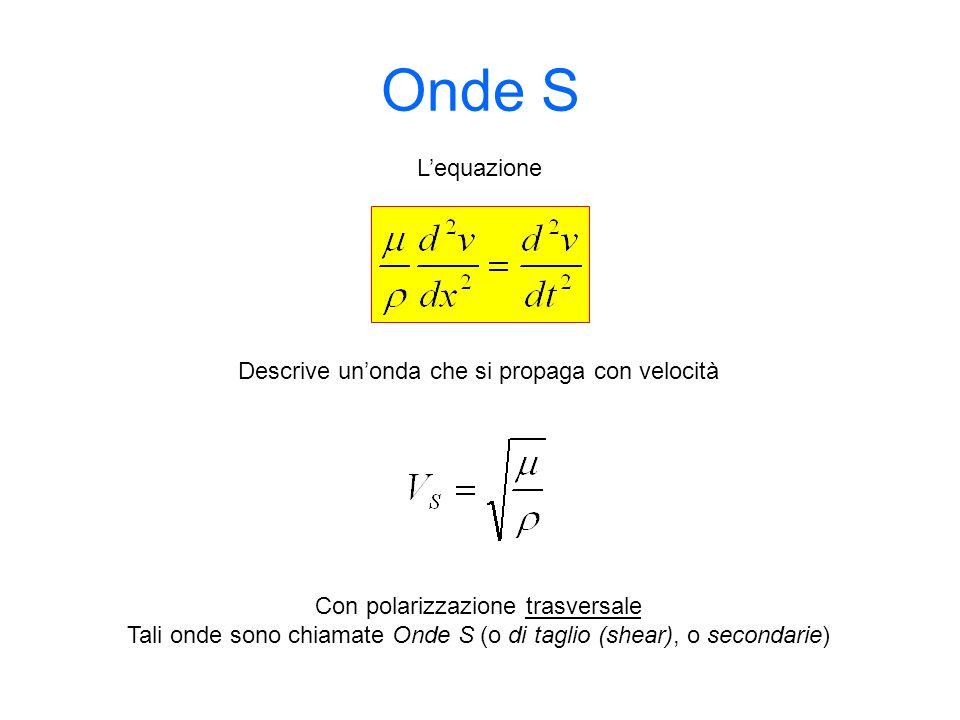 Onde S Descrive unonda che si propaga con velocità Lequazione Con polarizzazione trasversale Tali onde sono chiamate Onde S (o di taglio (shear), o se